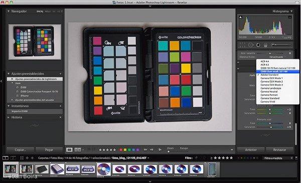 Calibración de cámara en Lightroom