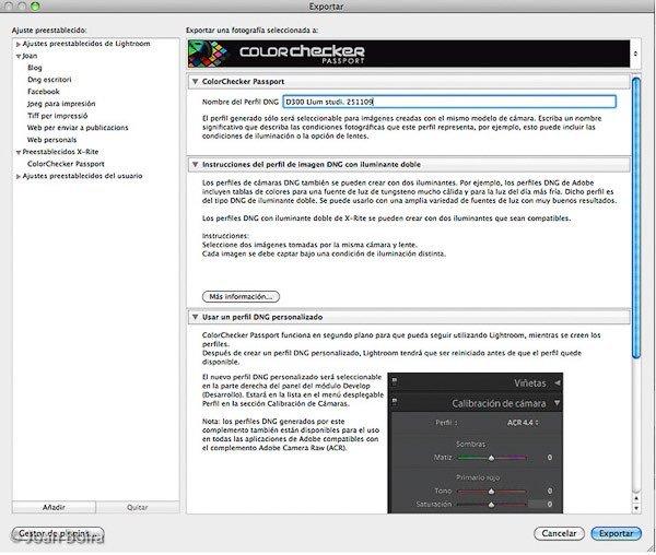 Creación de un perfil de color con colorchecker passport en Lightroom