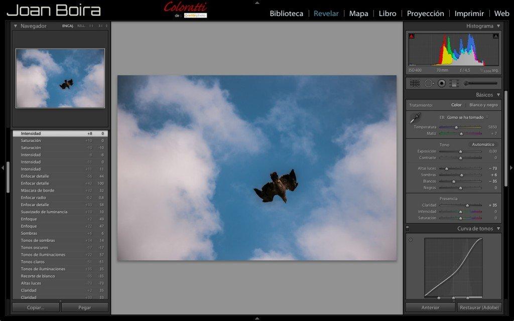 Preset 'Cielo azul con nubes' Lightroom