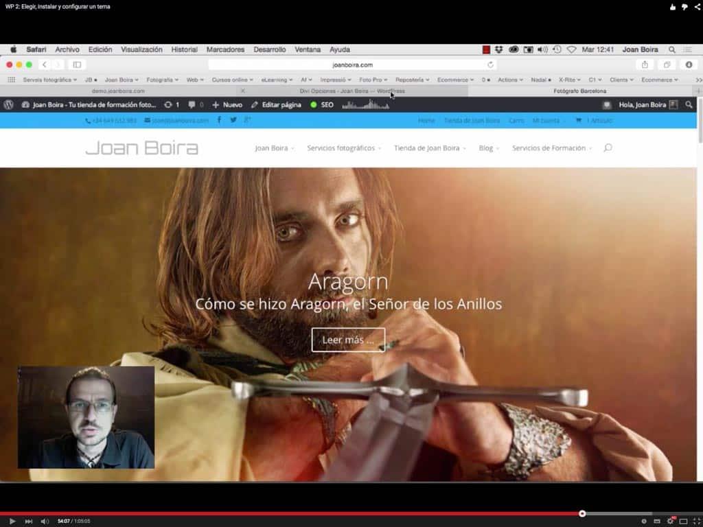 Wordpress Creación de páginas y menú de la web