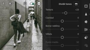 Textura en Efectos de la App de Lightroom_orientación horizontal