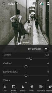 Textura en efectos de la App de Lightroom
