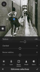 Textura en filtro radial de la App de Lightroom