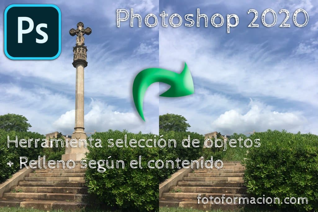 Photoshop 2020. Eliminar un objeto con Herramienta de selección de objetos y relleno según contenido