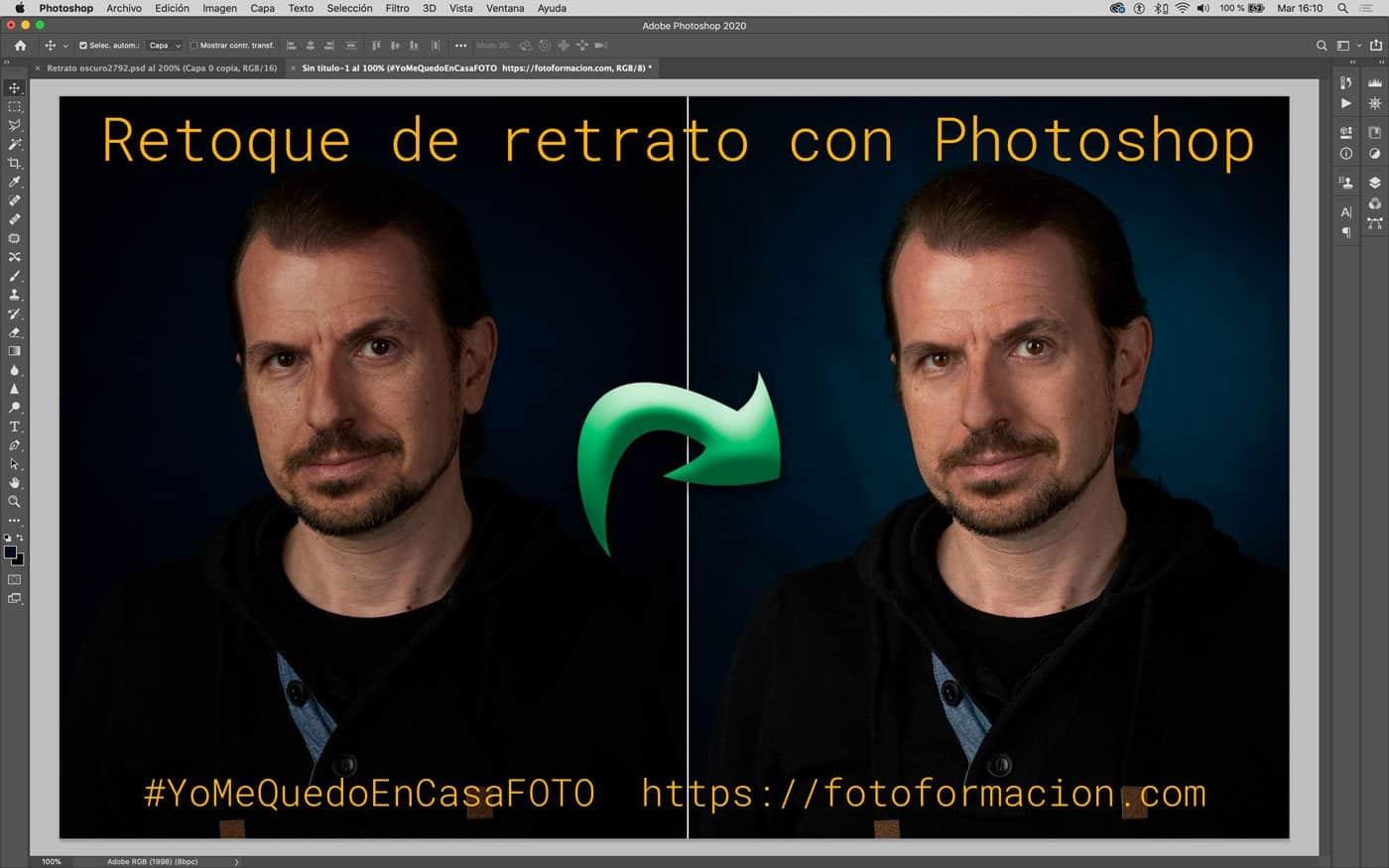 Retoque de retrato con fondo oscuro en Photoshop